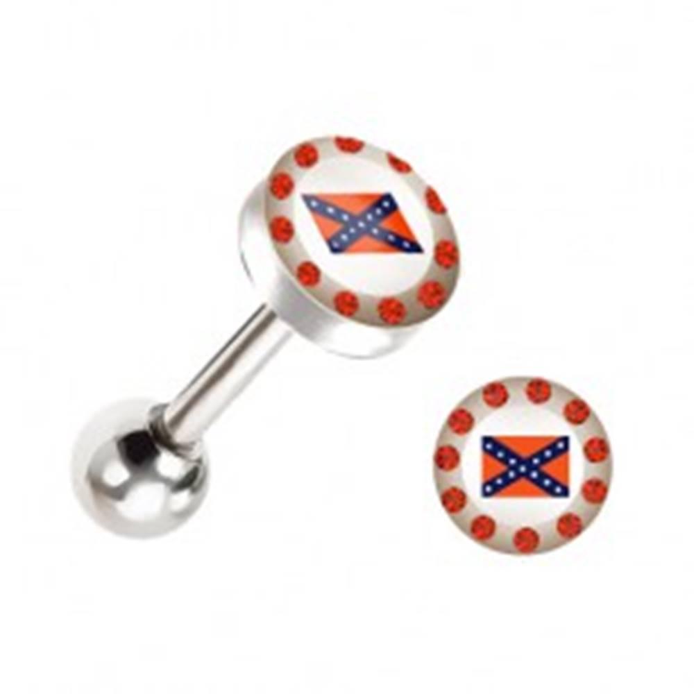 Šperky eshop Piercing do jazyka - oceľový, vlajka Konfederácie