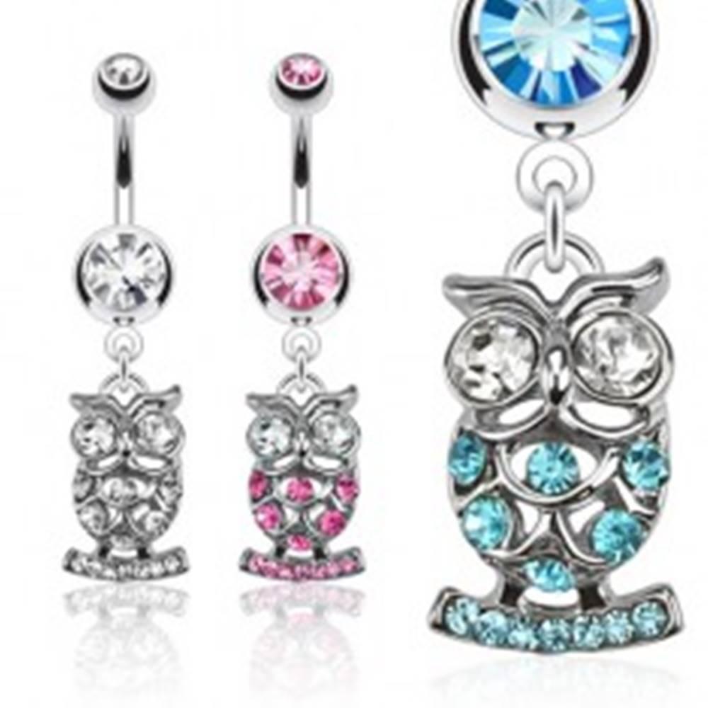 Šperky eshop Piercing do pupka z chirurgickej ocele, zirkónová sova - rôzne farby - Farba zirkónu: Aqua modrá - Q