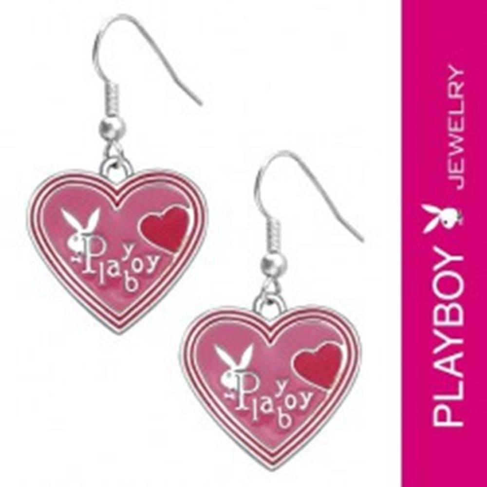 Šperky eshop PLAYBOY náušnice - ružové smaltované srdiečka