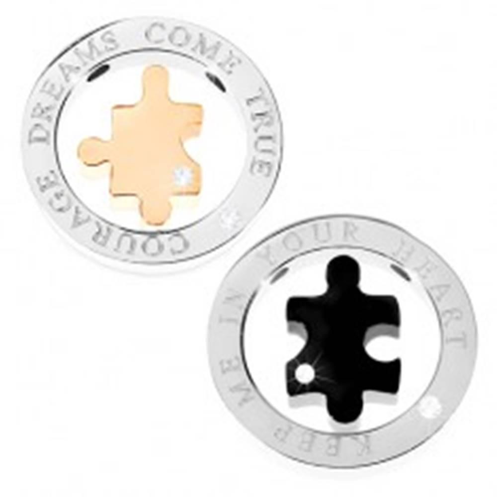 Šperky eshop Prívesok dvojdielny - mohutná obruč, puzzle, nápis, zirkón