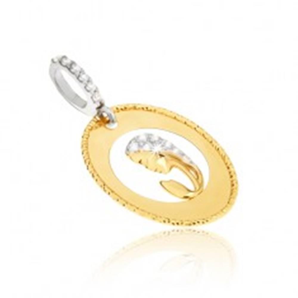 Šperky eshop Prívesok v žltom 14K zlate - oválny medailón, výrez, hlava ženy, zirkóny