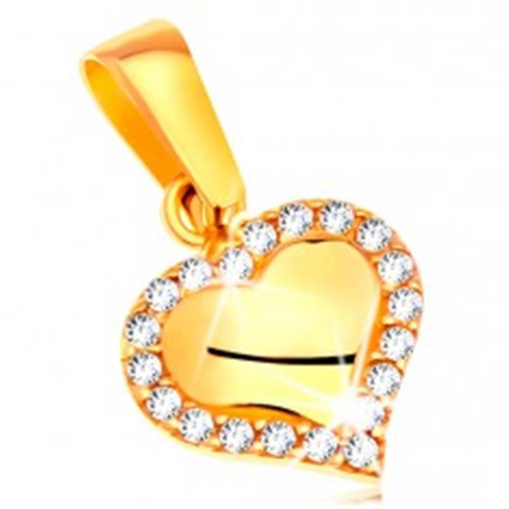 Šperky eshop Prívesok v žltom zlate 585 - lesklé srdiečko lemované čírymi zirkónmi