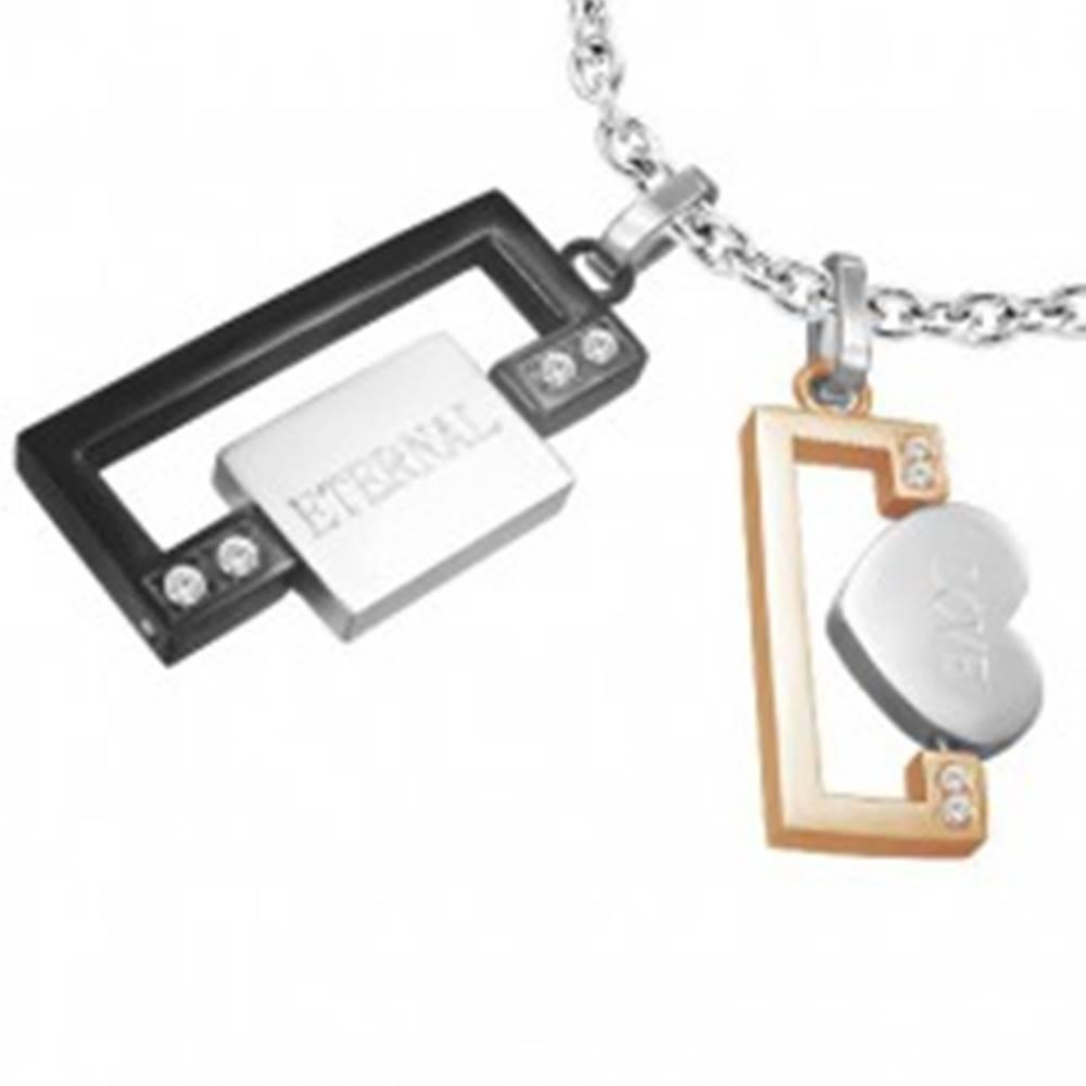 Šperky eshop Prívesok z ocele pre dvoch - obdĺžniky, srdce, známka