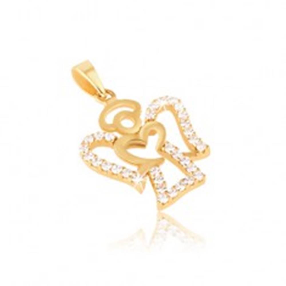 Šperky eshop Prívesok zo žltého zlata 14K - kontúra anjela, číre okrúhle zirkóny
