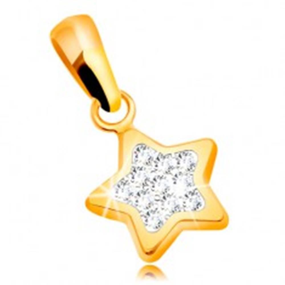 Šperky eshop Prívesok zo žltého zlata 585 - trblietavá päťcípa hviezda, číre zirkóny