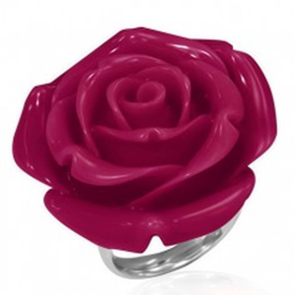 Šperky eshop Prsteň chirurgickej ocele s červenou ružou - Veľkosť: 49 mm