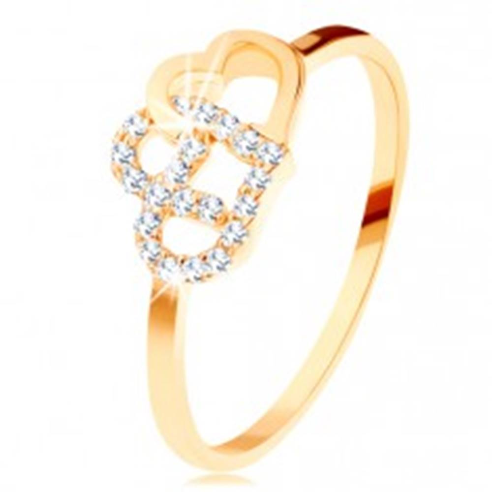 Šperky eshop Prsteň v žltom 14K zlate - dva prepojené obrysy sŕdc, úzke ramená - Veľkosť: 49 mm