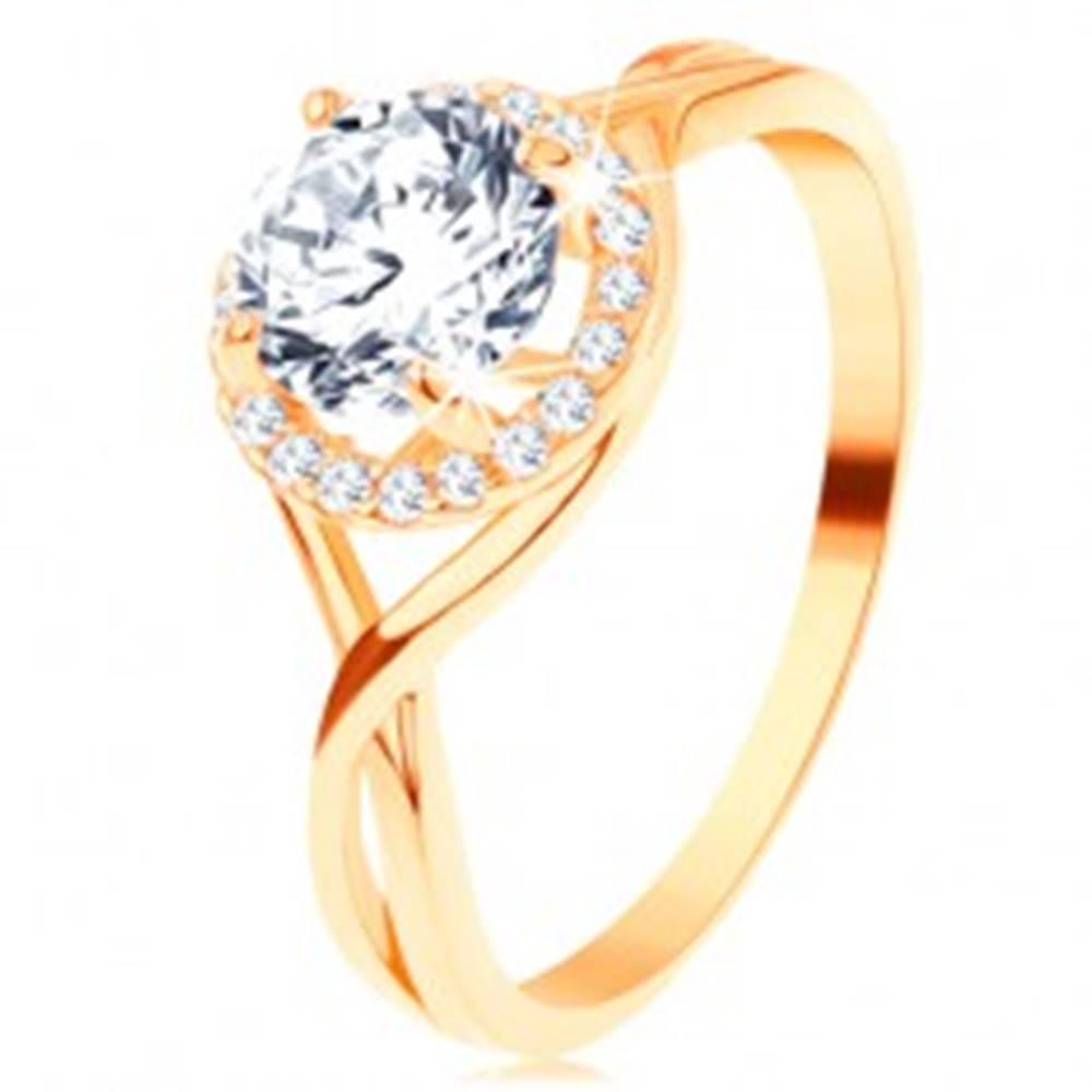 Šperky eshop Prsteň v žltom 14K zlate - zvlnené prepletené línie, okrúhly zirkón s čírym lemom - Veľkosť: 49 mm