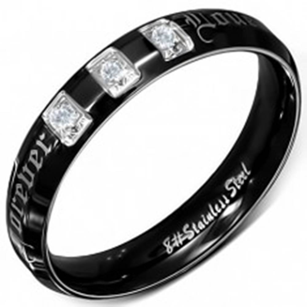 Šperky eshop Prsteň z chirurgickej ocele, čierny, lesklý, zirkóny, Forever Love  - Veľkosť: 49 mm