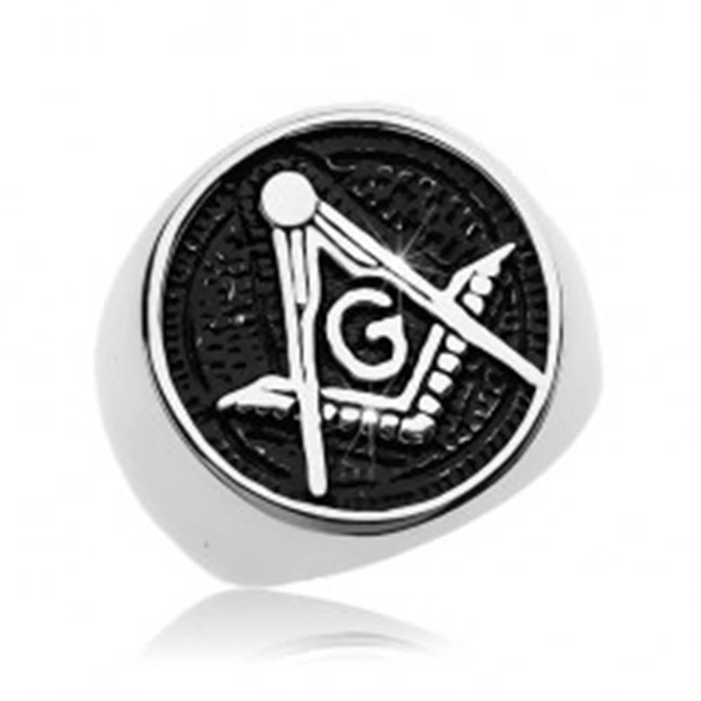 Šperky eshop Prsteň z chirurgickej ocele, symbol slobodomurárov v patinovanom kruhu - Veľkosť: 57 mm