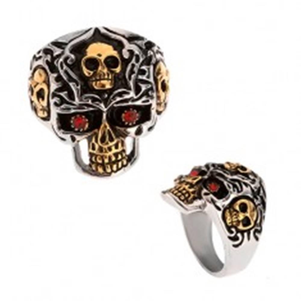 Šperky eshop Prsteň z ocele 316L, lebka zlato-striebornej farby, červené kamienky - Veľkosť: 58 mm