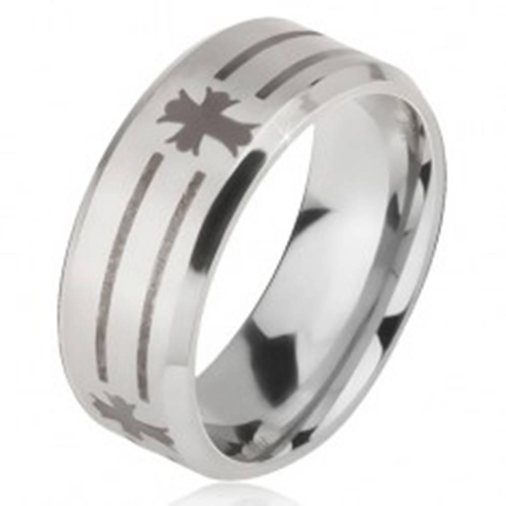 Šperky eshop Prsteň z ocele 316L striebornej farby, potlač pásov a krížov, 6 mm - Veľkosť: 52 mm