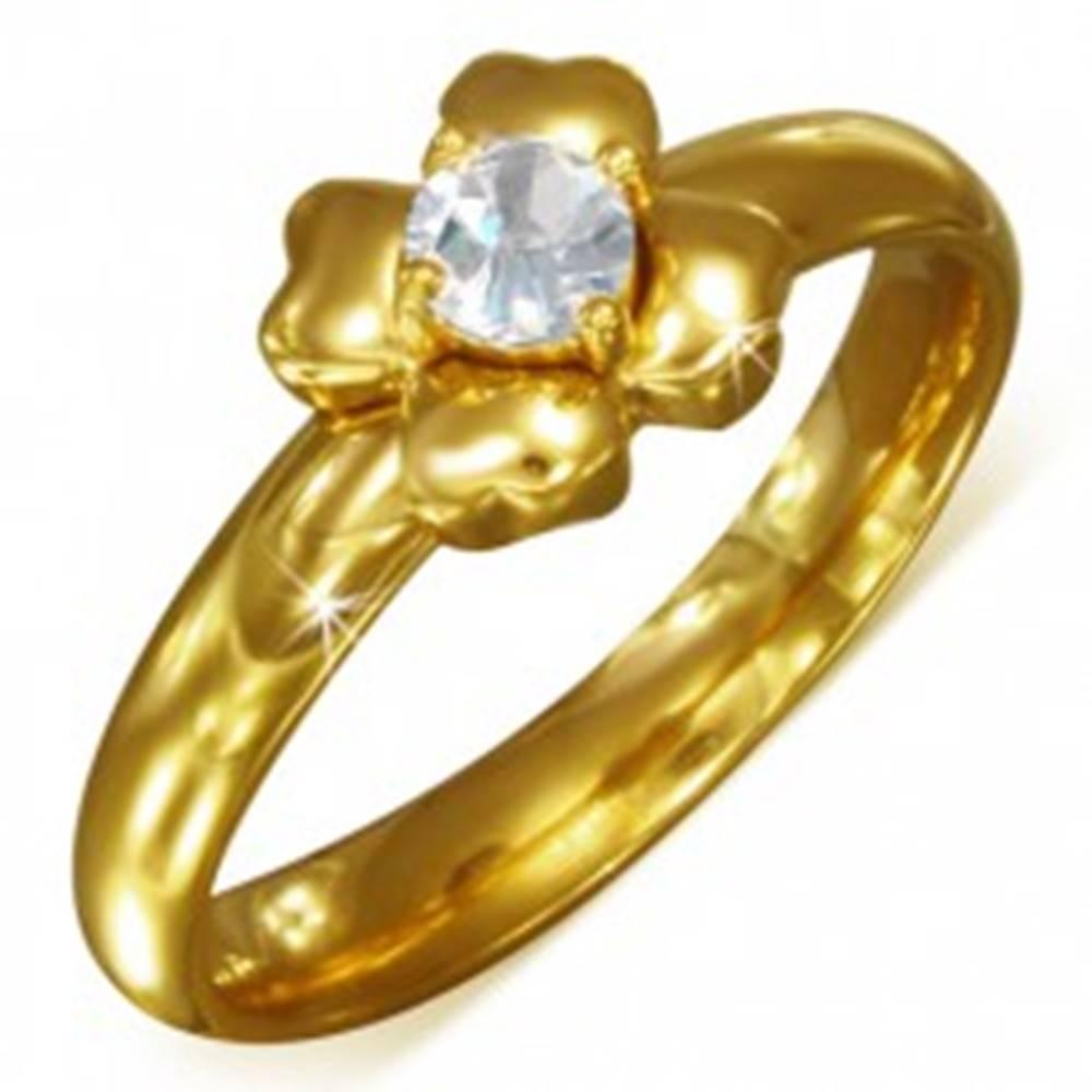 Šperky eshop Prsteň zlatej farby z chirurgickej ocele s čírym zirkónom - kvet - Veľkosť: 52 mm