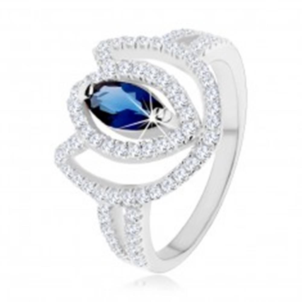 Šperky eshop Prsteň zo striebra 925, trblietavý obrys tulipánu s modrým zirkónovým zrnkom - Veľkosť: 47 mm