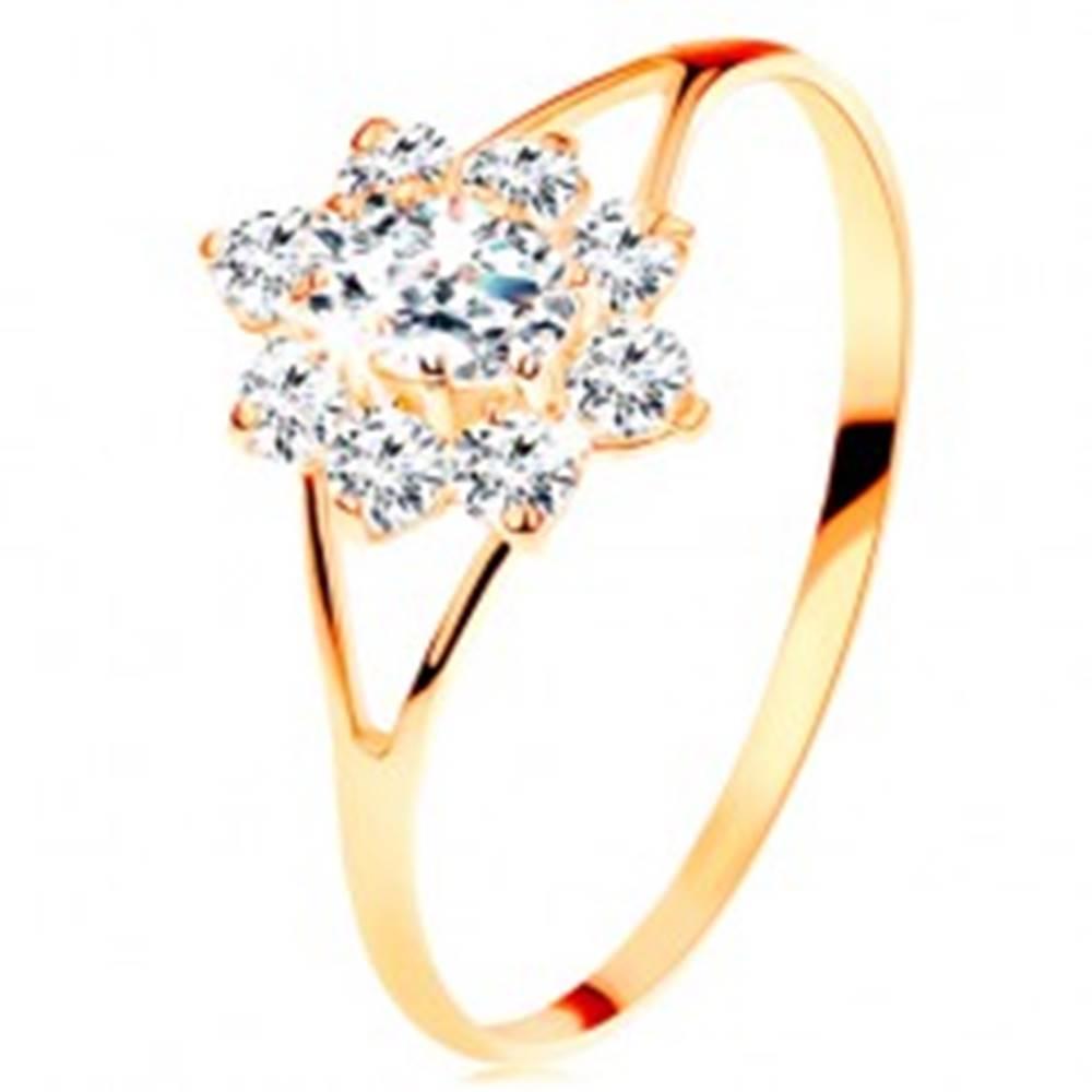 Šperky eshop Prsteň zo žltého 14K zlata - číry zirkónový kvietok, rozdelené ramená - Veľkosť: 49 mm