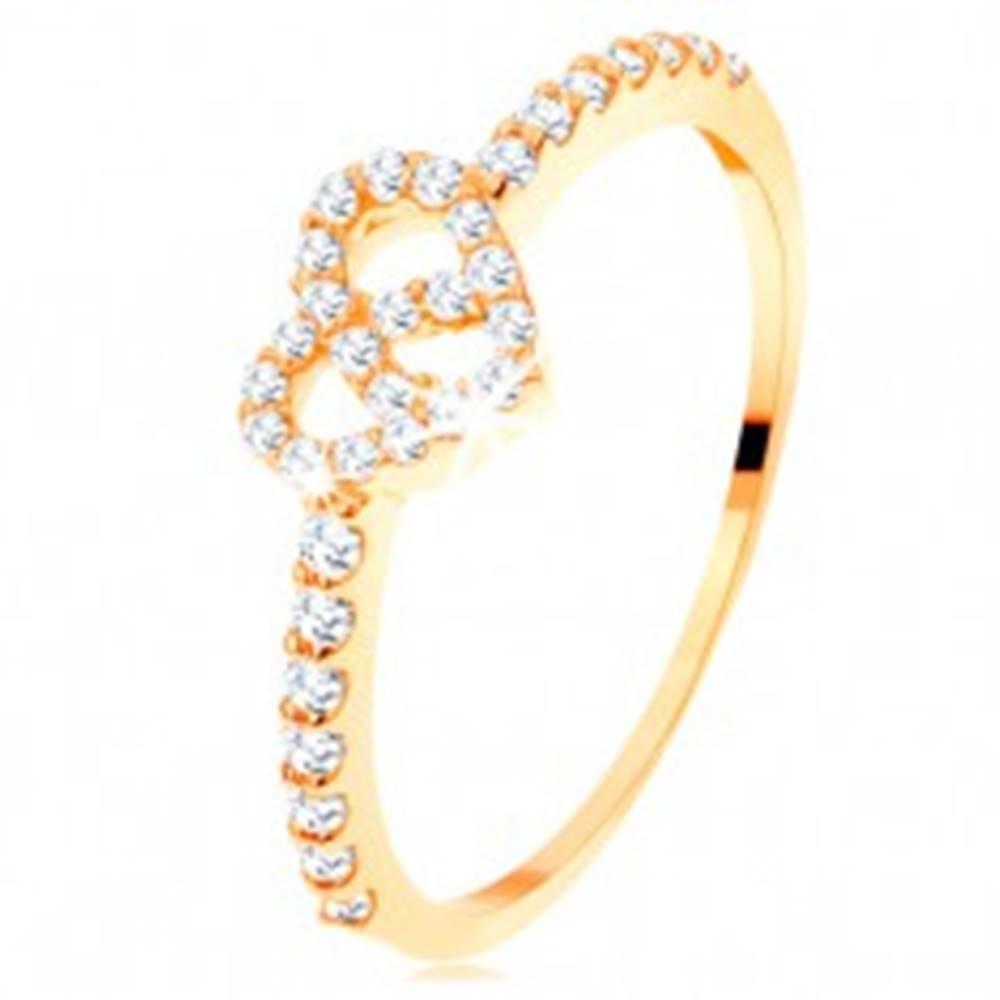 Šperky eshop Prsteň zo žltého 14K zlata - zirkónové ramená, ligotavý číry obrys srdca - Veľkosť: 49 mm