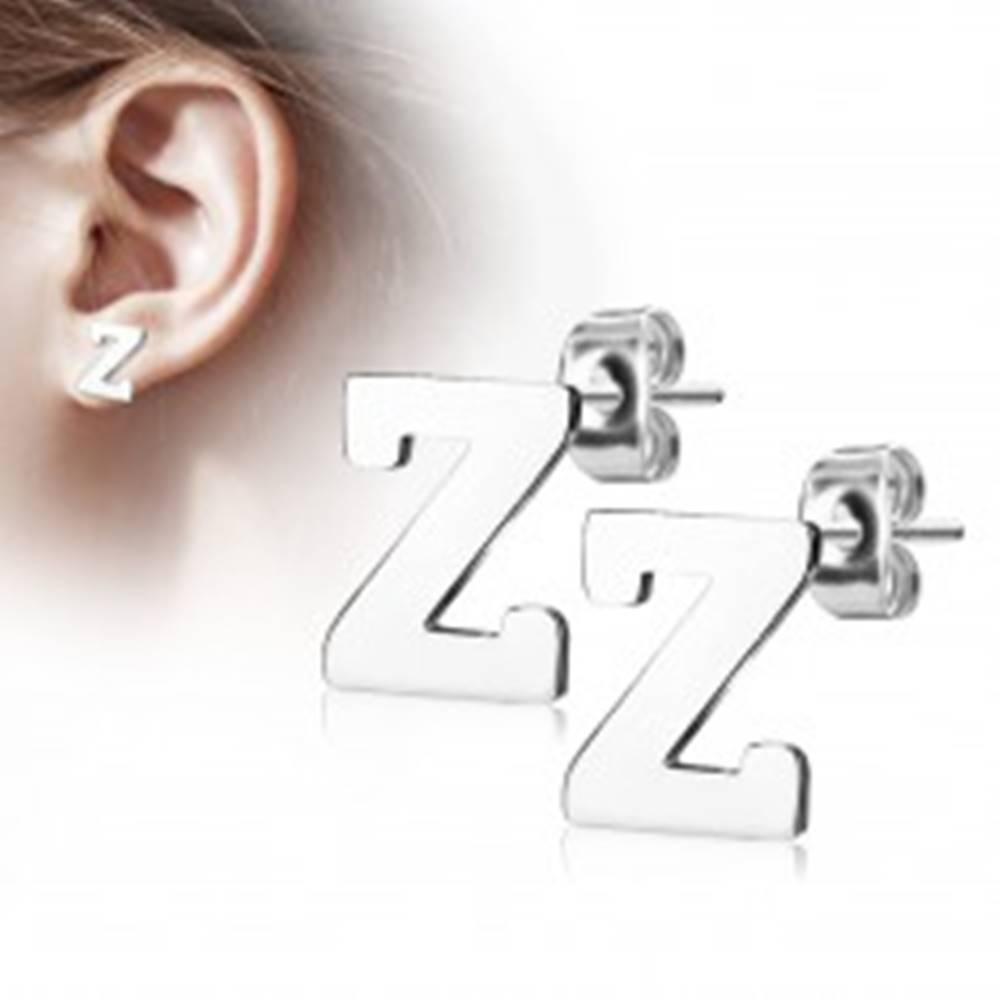 Šperky eshop Puzetové náušnice z ocele 316L - veľké tlačené písmenko Z, strieborná farba