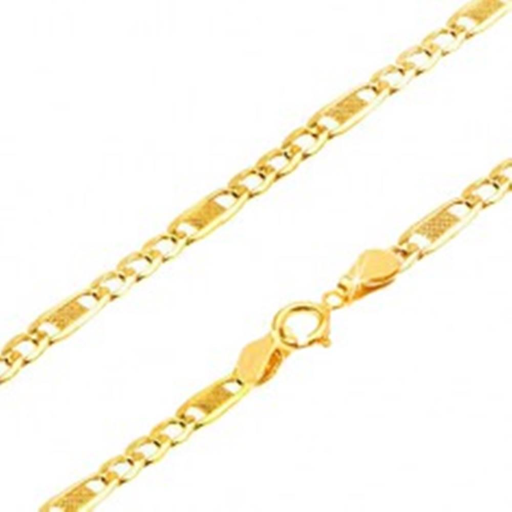 Šperky eshop Retiazka v žltom 9K zlate, tri oválne očká a jedno dlhšie s mriežkou, 500 mm