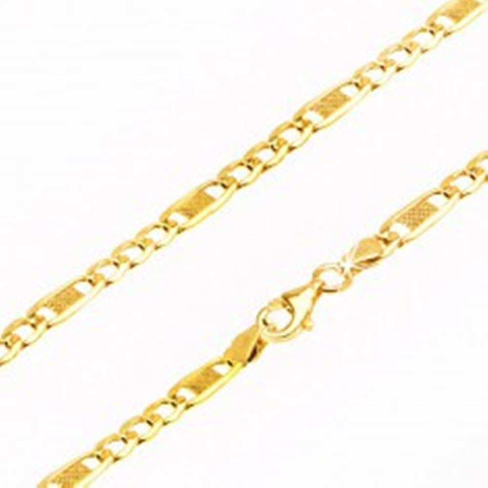 Šperky eshop Retiazka zo žltého 9K zlata, tri oválne očká a jedno dlhšie s mriežkou, 450 mm