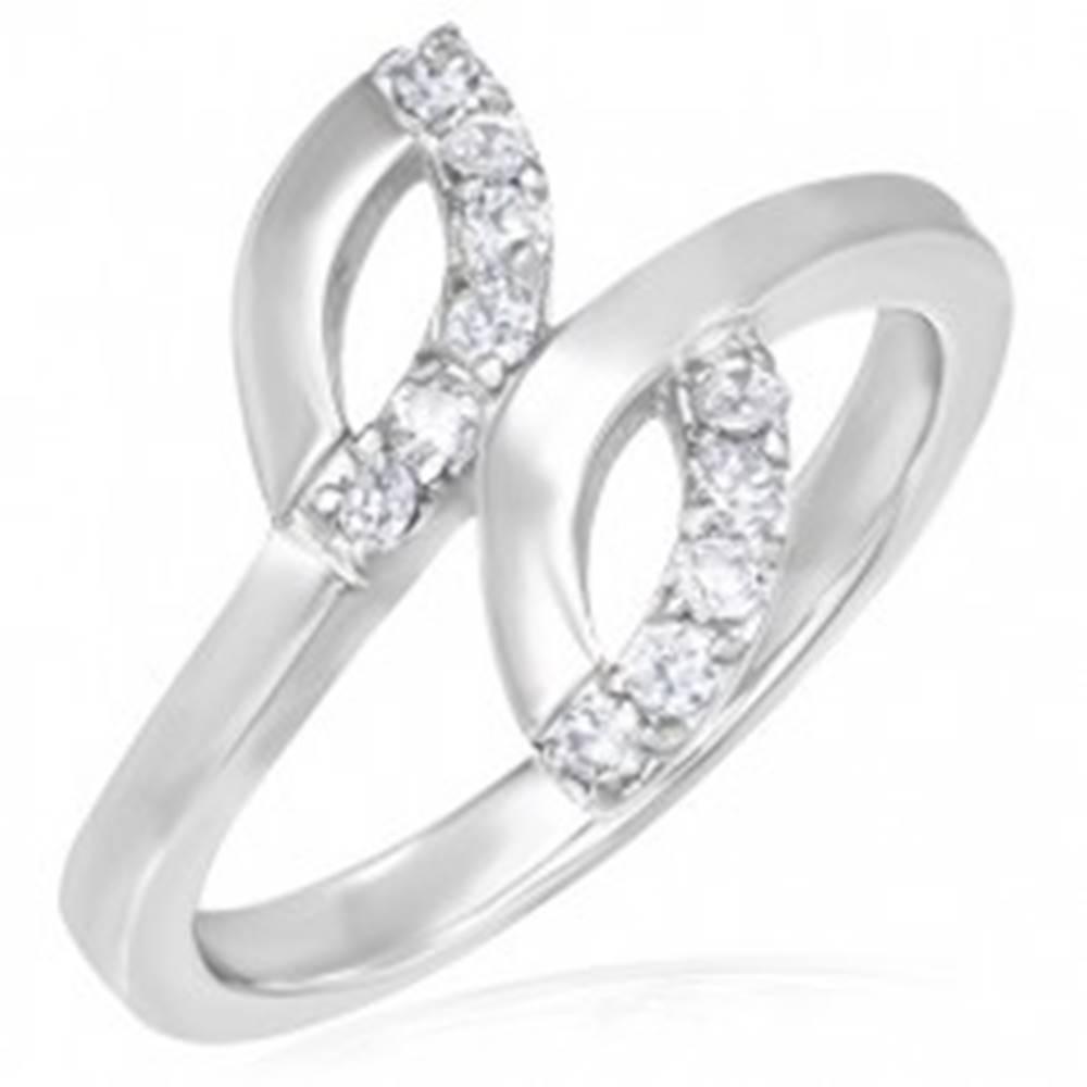 Šperky eshop Snubný prsteň z ocele - dve slzičky, drobné zirkóny - Veľkosť: 49 mm