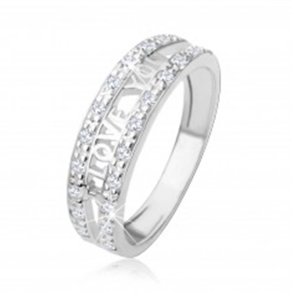 """Šperky eshop Strieborný 925 prsteň - nápis """"I LOVE YOU"""", pásy čírych zirkónov - Veľkosť: 48 mm"""