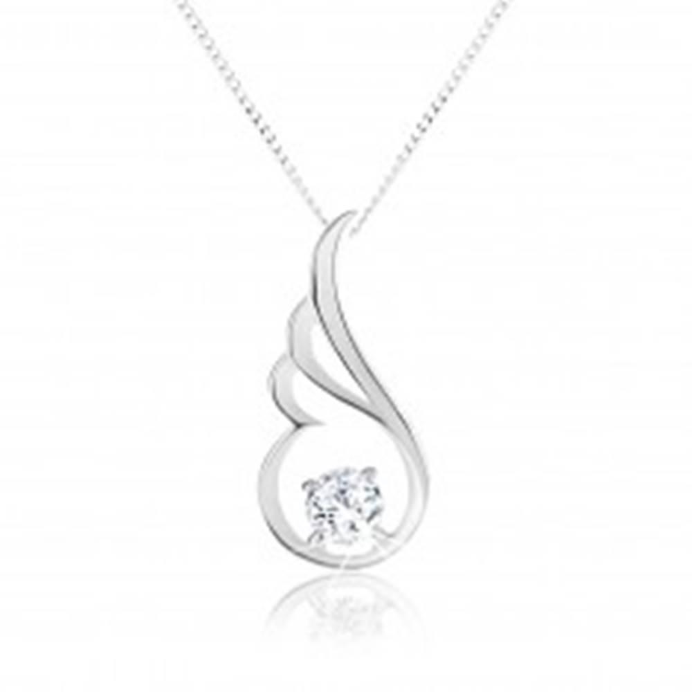 Šperky eshop Strieborný náhrdelník 925, ligotavá kontúra anjelského krídla, číry zirkón
