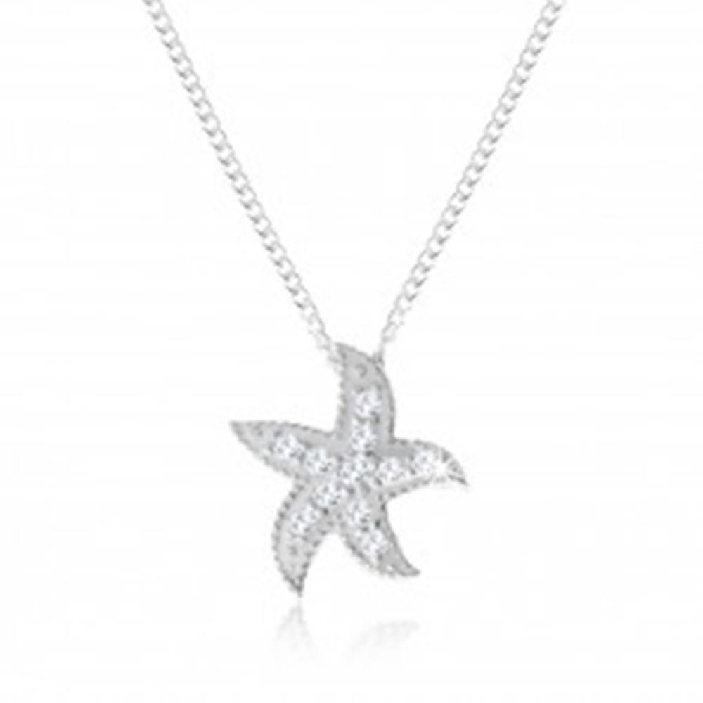 Šperky eshop Strieborný náhrdelník 925, morská hviezdica zdobená malými okrúhlymi zirkónmi