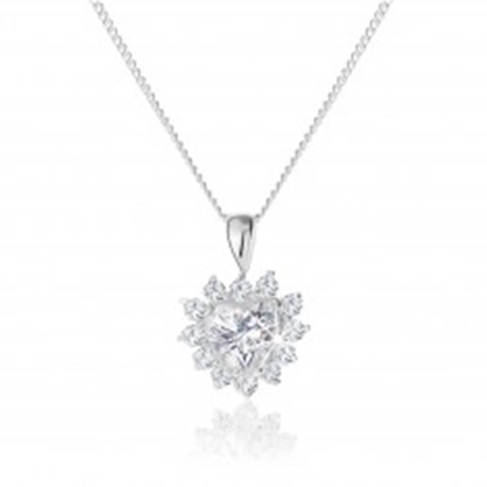 Šperky eshop Strieborný náhrdelník 925, trblietavý prívesok zirkónového srdca s ozdobným lemovaním