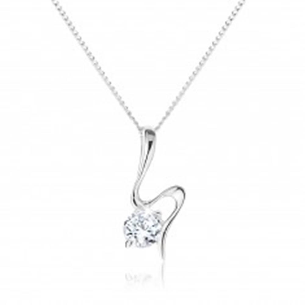 Šperky eshop Strieborný náhrdelník 925, vlniaca sa stuha, okrúhly zirkón čírej farby