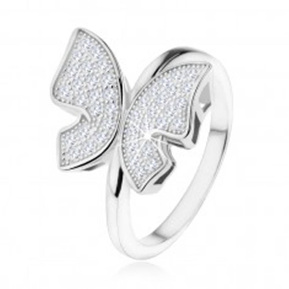 Šperky eshop Strieborný prsteň 925, trblietavý motýľ vykladaný zirkónikmi čírej farby - Veľkosť: 48 mm