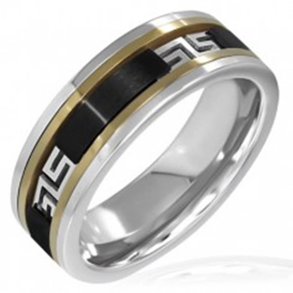 Šperky eshop Trojfarebný prsteň - čierny pás, grécky vzor - Veľkosť: 55 mm