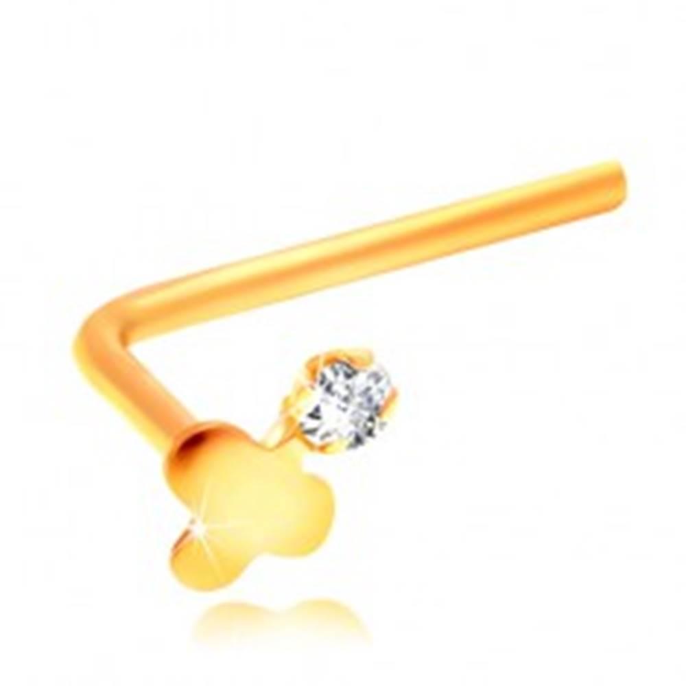 Šperky eshop Zahnutý piercing do nosa, žlté 14K zlato, lesklý trojlístok a číry zirkón