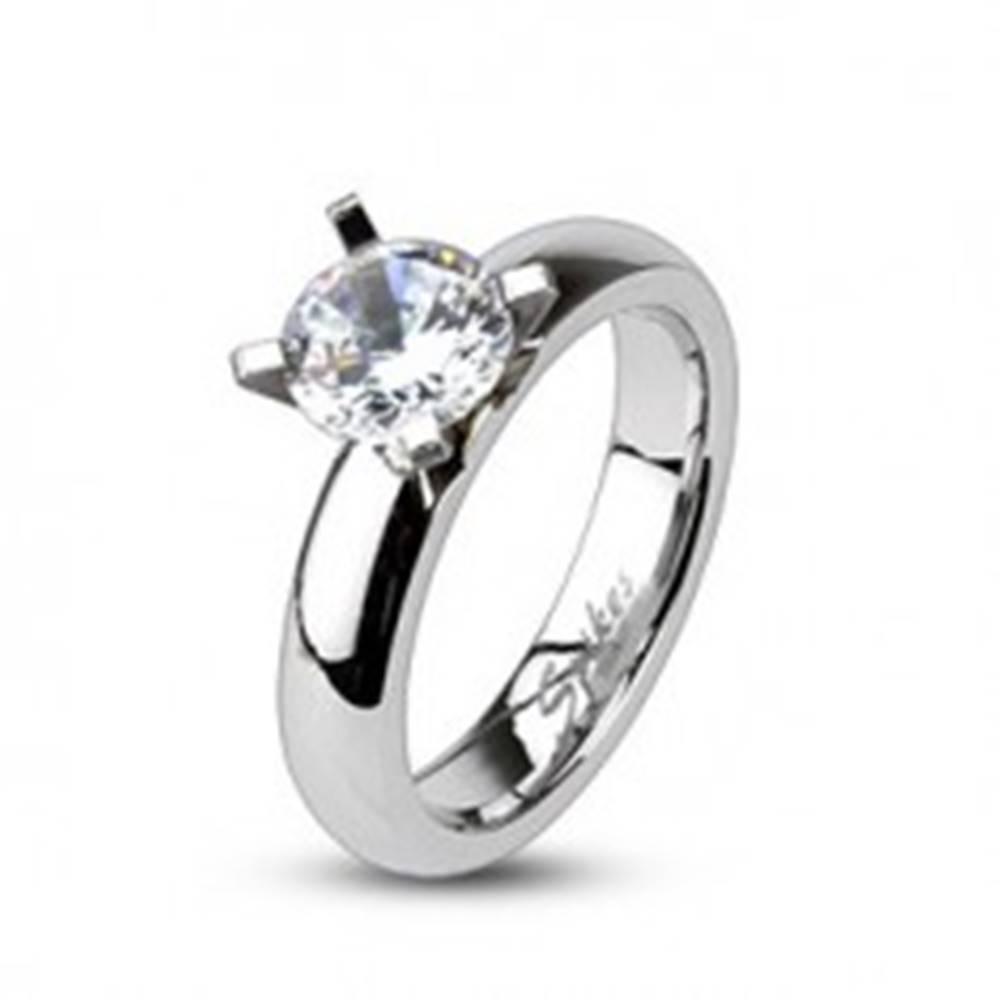 Šperky eshop Zásnubný prsteň z ocele - vystupujúci veľký okrúhly zirkón - Veľkosť: 49 mm