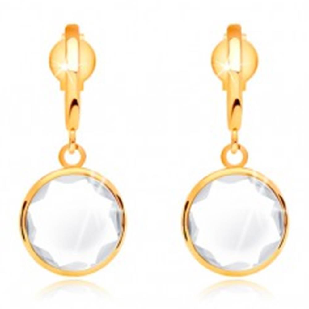 Šperky eshop Zlaté 14K náušnice - číry okrúhly krištáľ visiaci na úzkom oblúku