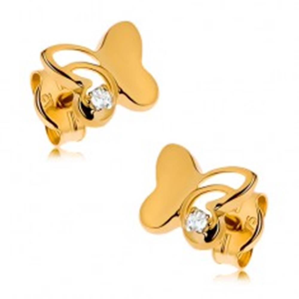 Šperky eshop Zlaté náušnice 375 - lesklý motýľ s vyrezávanou časťou, okrúhly zirkón čírej farby