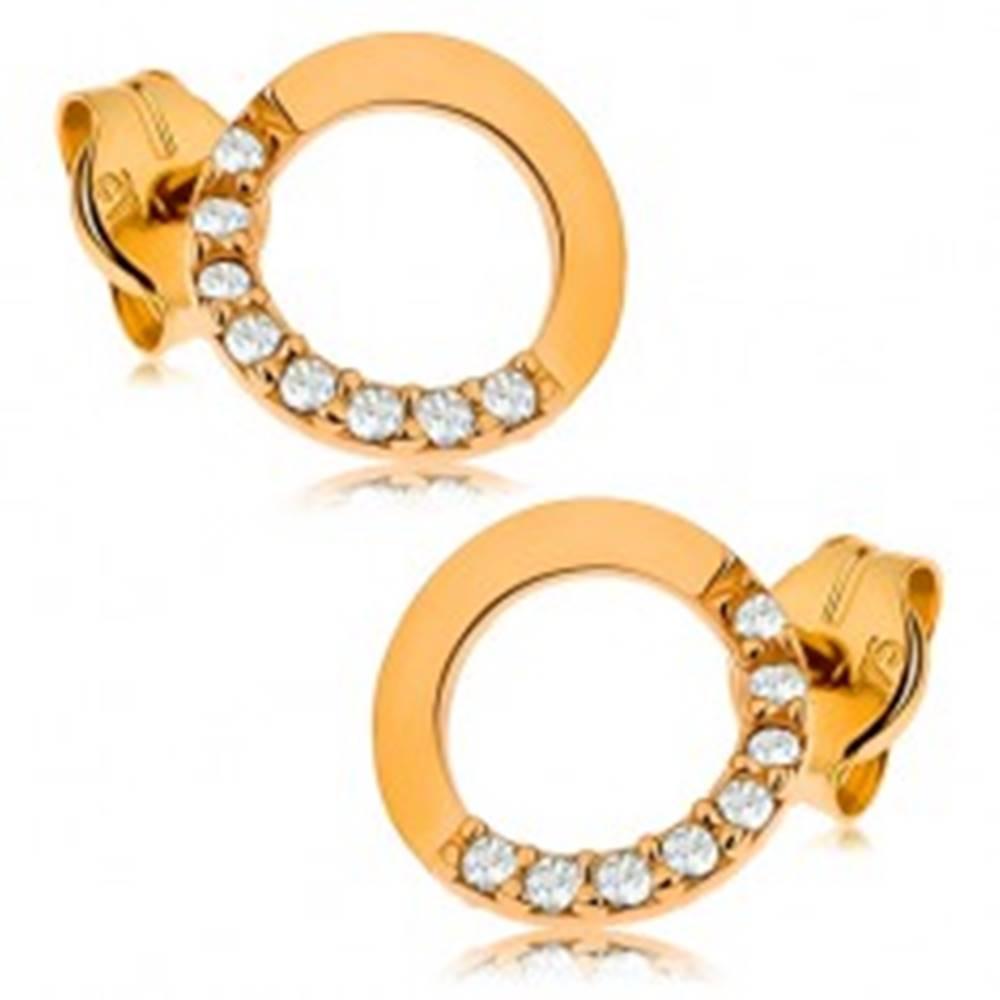 Šperky eshop Zlaté náušnice 375 - obrys kruhu s čírou zirkónovou polovicou, 7 mm