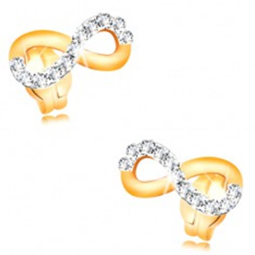 Šperky eshop Zlaté náušnice 585 - symbol INFINITY zdobený líniou čírych zirkónov