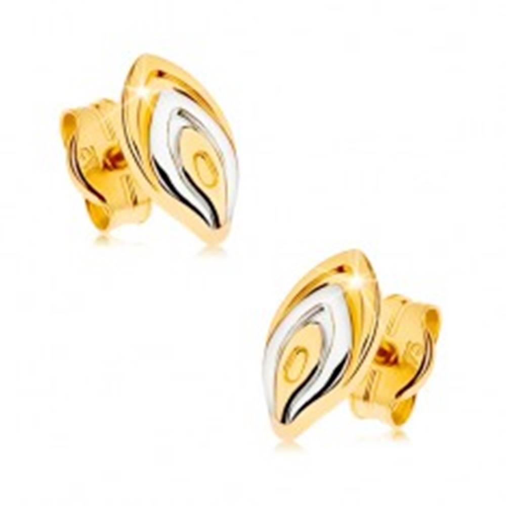Šperky eshop Zlaté puzetové náušnice 375 - dvojfarebný lupeň kvetu, ródiovaný povrch