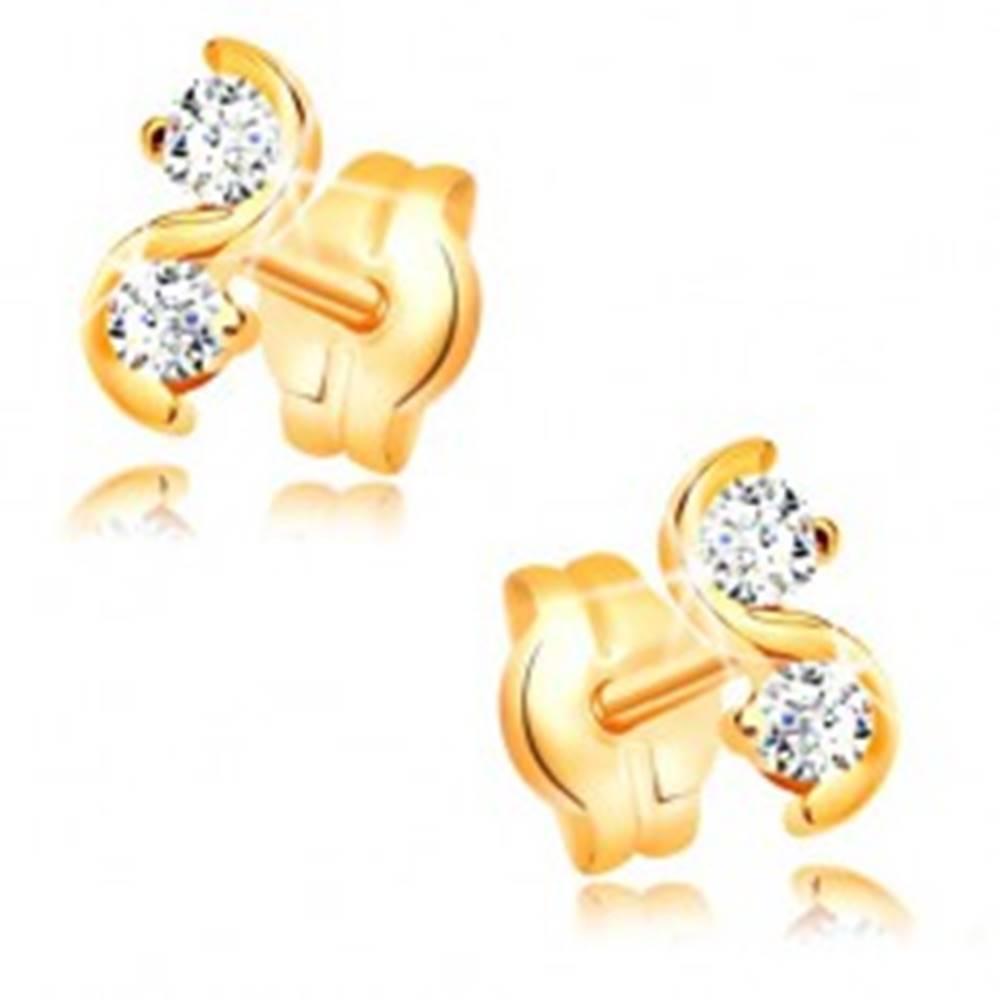 Šperky eshop Zlaté puzetové náušnice 585 - lesklá hladká vlnka, číre ligotavé zirkóny