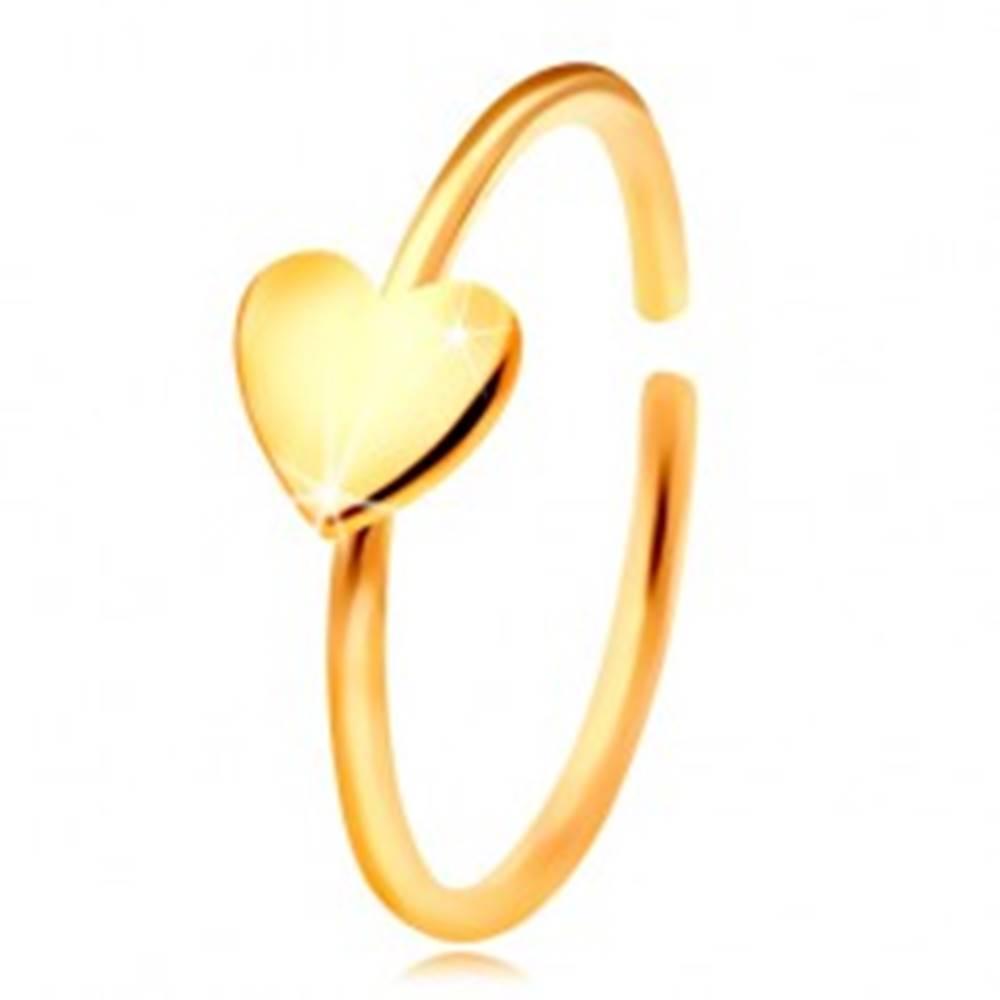 Šperky eshop Zlatý 585 piercing do nosa, lesklý krúžok so srdiečkom, žlté zlato