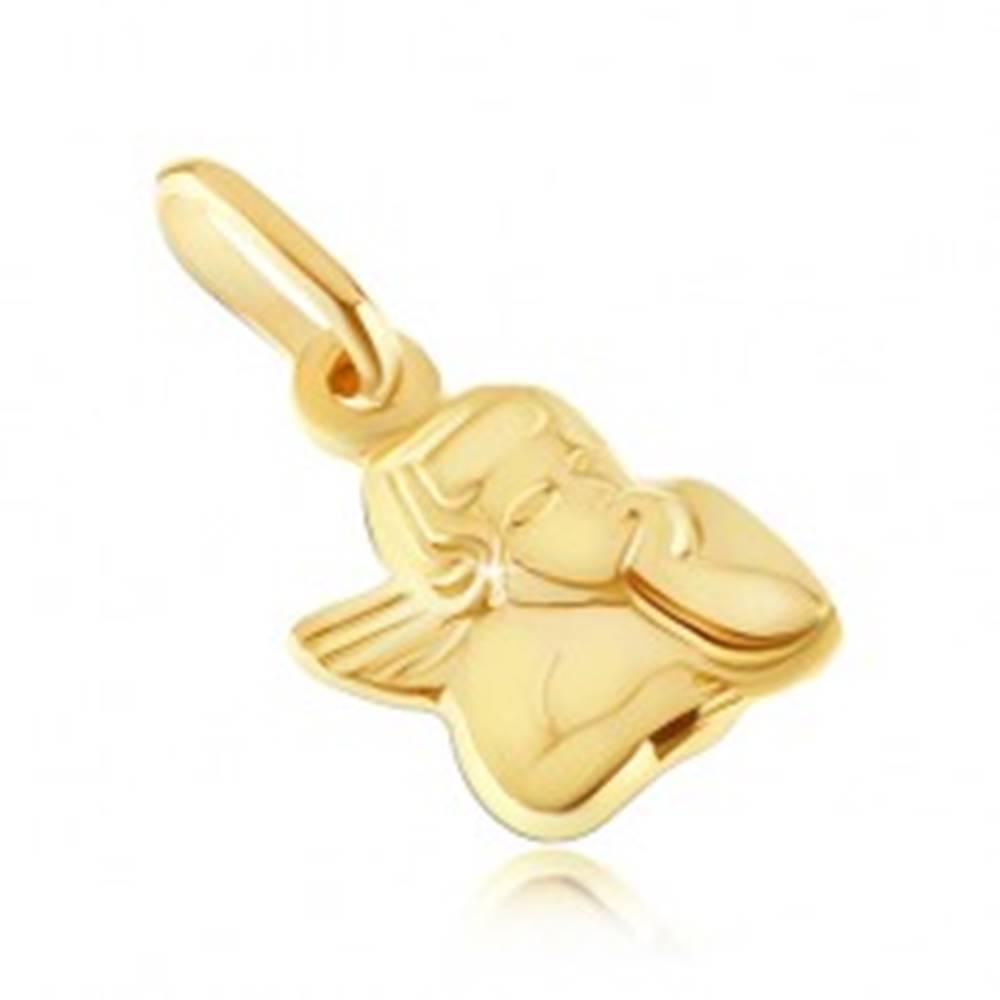 Šperky eshop Zlatý prívesok 585 - busta anjelika s podopretou hlavou