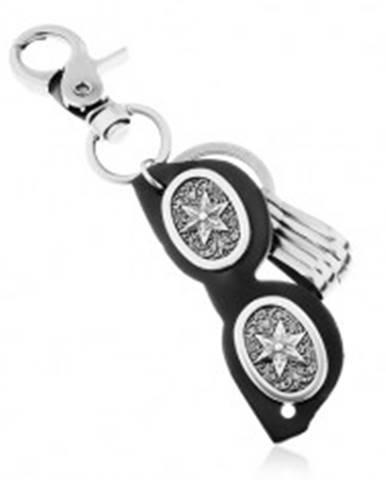 Prívesok na kľúče s patinovaným povrchom, čierne okuliare z kože, hviezda Z38.7