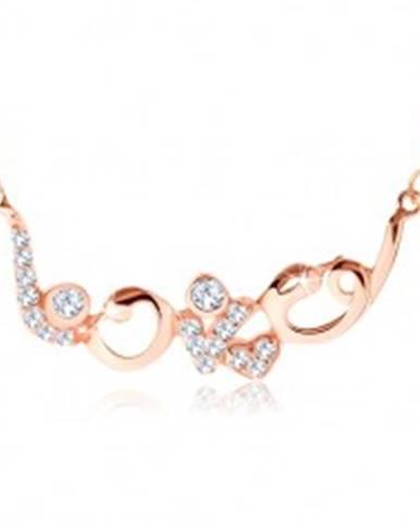 """Strieborný náhrdelník 925 medenej farby, ligotavý nápis """"love"""", zirkóny SP60.25"""