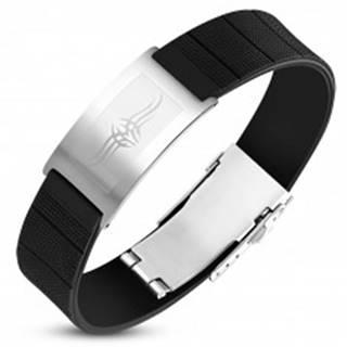 Čierny gumený náramok s oceľovou známkou striebornej farby, Tribal symbol