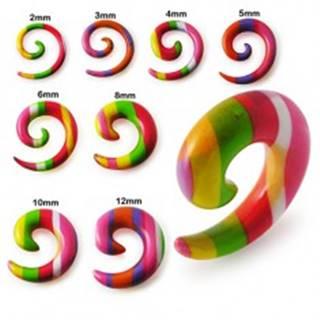 Expander do ucha - špirála s farebnými prúžkami - Hrúbka: 10 mm