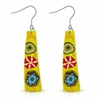 FIMO náušnice, žltý obdĺžnik s tromi farebnými kvetmi, háčiky