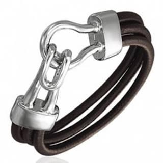Gumený náramok - tri hnedé okrúhle šnúrky, zdvojený hák