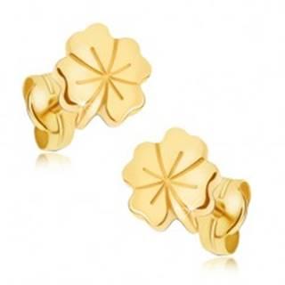 Lesklé zlaté náušnice 585 - štvorlístok pre šťastie, ozdobné ryhovanie