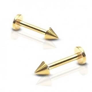 Lesklý oceľový piercing do brady - labret s hrotom, zlatá farba - Rozmer: 1,2 mm x 8 mm