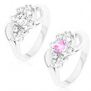 Lesklý prsteň s ohnutými ramenami so zárezom, okrúhly stred, číre zirkóniky - Veľkosť: 49 mm, Farba: Číra